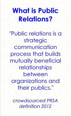 The best and simplest definition of PR I've seen. People often ask me what PR is..now I'll have a solid answer!