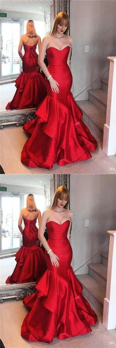 Pretty Lace Up Sweetheart Long Mermaid Red Prom Dresses Evening Dresses Z0632  #red #mermaid #satin #sweetheart #strapless #laceup  #promdresses #promdress #promgowns #dresses #gowns #prom #eveningdresses #partydresses #womendresses #fashiondresses #long #elegant #modest #fashion  #charming #formal #classy #beautiful #simple #cheap #promdresses2018 #forteens