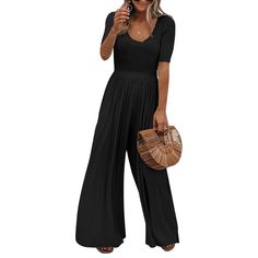 Sexy Dance - Women Short Sleeve Playsuit Ladies Casual Loose Wide Leg Long Pants Jumpsuit Summer Holiday Solid Shorts Sleeve Trousers - Walmart.com - Walmart.com Loose Pants Outfit, Long Pants, Casual Pants, Cute Sweater Outfits, Casual Outfits, Casual Wear, Asos Jumpsuit, Mother Of The Bride Suits, Short Playsuit
