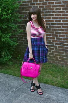 Mixing prints with stripes and plaid! And a @kate spade new york bag! #prints #stripes #outfit #bloggers