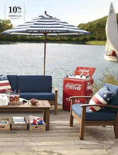 Great 4th of July decor...love the coke ice chest!