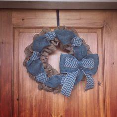 Turquoise chevron burlap wreath https://www.facebook.com/WreathsbyKasy/