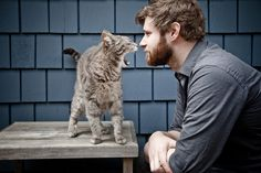 """From an article titled: """"The 30 Cutest Boys With Beards With Cats"""""""