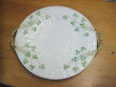 Antique Irish Belleek cake/ sandwich plate. 3rd Black Mark Shamrocks 1926/1946