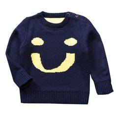 High Quality Infant Baby Sweater, Thick Warm Cute Smile Face Jumpers, premium Baby Girl Boy Knitwear, Winter Dark Blue Long Sleeve Sweater for Baby.