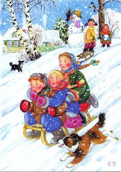 fete noel vintage gifs images - Page 3 Christmas Scenes, Christmas Mood, Christmas And New Year, Vintage Christmas Cards, Vintage Cards, Gif Fete, Dashing Through The Snow, Winter Illustration, Ukrainian Art