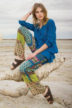 Johnny Was Collection Fall 2015 Lookbook featuring the FLORAL TRAILS TUNIC & DOMOTO PANTS