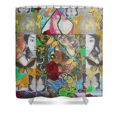 Shower Curtains - Ra Basstress Butterfly Two Shower Curtain by Kevin J Cooper Artwork