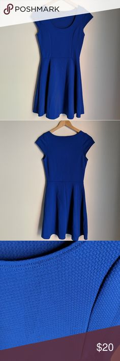 "Zulily Cobalt Blue Active Wear Skater Dress S EUC Pit to pit 14"" Length 33"" Approximate measurements. 95% polyester 5% Spandex  Cap-sleeves and textured fabric. Vibe Sportswear Dresses"
