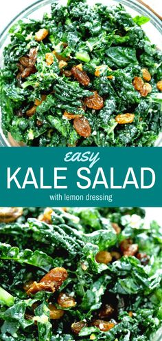 This is a simple, easy kale salad recipe that is tangy, crunchy, and full of incredible lemon flavor. Easy to make-ahead and ready in less than 10 minutes! Kale Salad Recipes, Vegetarian Recipes, Cooking Recipes, Healthy Recipes, Cooked Kale Recipes, Simple Kale Recipes, Kale Salads, Cooking Kale, Healthy Salads