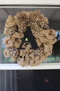 Burlap and leopard initial wreath, monogram wreath, initial decor, year round wreath, fall wreath, spring wreath, leopard wreath, gift idea by LnPBoutique on Etsy https://www.etsy.com/listing/217336365/burlap-and-leopard-initial-wreath