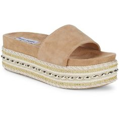 e0610123023 Steve Madden Kaleesi Suede Espadrille Slides Sandals (62 AUD) ❤ liked on Polyvore  featuring shoes