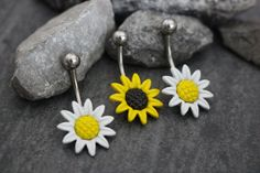 Belly Bar Belly Button Rings Flower Navel Piercing by MyBodiArt