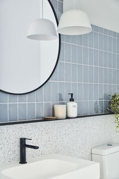 Loving this powder room designed by featuring our beautiful tiles. The house at Landcox St, Brighton East is up for auction this week!Design Photo: For Sale Builder John Dowd Bathroom Renos, Laundry In Bathroom, Small Bathroom, Bathroom Plants, White Bathroom, Blue Bathroom Tiles, Pastel Bathroom, Bathroom Ideas, Bathroom Wall Panels