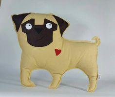 Pug Pillow, felt dog, dog pillow, plush pug, Nursery Decor, Baby Shower Gift, decorative pillow Pug pillow designed, hand cut, hand and machine stitched by me in my smoke and pet hair free home.  FREE CANADIAN SHIPPING  Not made to be roughly played with, and is perfect for hugging!  I also create a pug pacifier holder, pug ornament, and pug plush toy that match. Take a look: http://etsy.me/2bFwe1I http://etsy.me/2bMJuDc http://etsy.me/2b57LPb  I c...