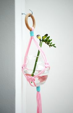 Simple hanging vase by minieco - love how the pink rope gives this classic idea a fresh new look