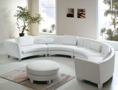 Leather Sofas Beautiful Round shape Leatherette Sectional Sofa Design in White with Lovely White Pillows and Completed with Round White Ottoman