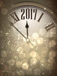 2017 New Year background with clock. - Illustration vectorielle