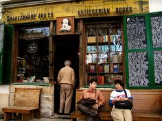 "Shakespeare & Company; Paris, France. ""In the 1920s the original  store was a gathering place for writers such as Ezra Pound, Ernest Hemingway, William S. Burroughs, James Joyce and Ford Madox Ford"""