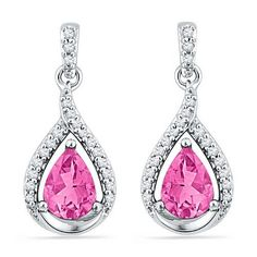 10k White Gold 0.20 ctw Diamond 3.00 ctw Created Pink Sapphire Earring approx 3…