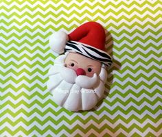 Santa Pendant or Hair Bow Topper  Red Hat with by PegsClayGround