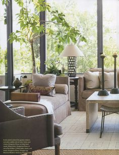 Beautiful Chic Living Room...love the skirted Chaise & Sofa & all the decor! Amazing Windows by Mallory's Interior Design