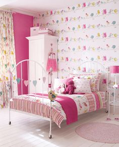 I like the birds in the backroom and the simplicity of this room. Girls Room Ideas.