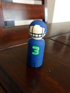 Seattle Seahawks football peg doll by MamaSkids on Etsy, $10.00 Etsy.com/shop/mamaskids