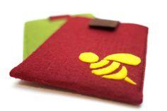 iPad mini Felt Sleeve  Deep Red Felt with a Bee by NikooCreations