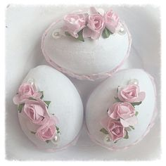 White Cottage Chic 3 Easter EGGS 3 Bowl fillers by RoseChicFriends