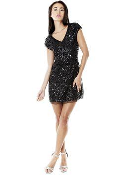 Black Dresses - Sequin V Neck Party Black Dress - http://www.blackdresses.co.uk