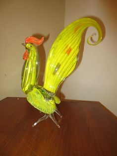 Vintage Murano Art Glass Rooster Figurine Bright Colors Yelow   eBay