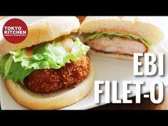 How to make Ebi Filet-O 🍔 . (Shrimp cutlet burger.) - YouTube Tokyo Kitchen, O Fish, Scallops, Mcdonalds, Japanese Food, Hamburger, Shrimp, Seafood, Chicken