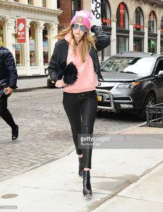 Model Gigi Hadid is seen walking in Soho 2016 in New York City.