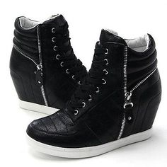 Womens Black White Zippers High Top Hidden Wedge Sneakers Ankle Boots in Clothing, Shoes & Accessories   eBay