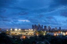 Photo of the day: Dodgers Stadium after the storm - Echo Park Now Seattle Skyline, New York Skyline, East Los Angeles, Dodger Blue, Dodger Stadium, Go Big Blue, After The Storm, City Of Angels, California Love