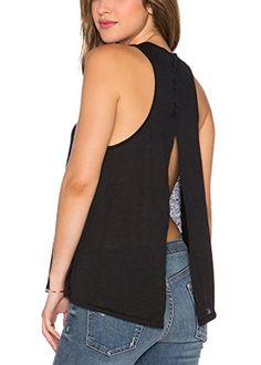 Special Offer: $7.98 amazon.com Yucharmyi Women's Sexy Backless Split Blouse Knit Summer Shirts Loose Stretchy TopsFashion and Sexy design, Spring Summer Autumn Winter Fashion Street Tees, Juniors Casual TopsSexy Solid Back Split Top, Loose Stretchy T Shirts Slouchy Blouse For Womens...