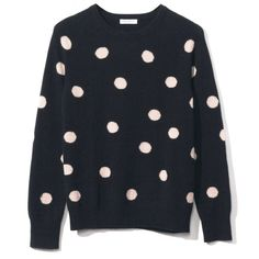 Equipment Sloan Crew Neck Sweater ($368) ❤ liked on Polyvore featuring tops, sweaters, dot sweater, crew neck tops, polka dot top, equipment tops and crewneck sweater