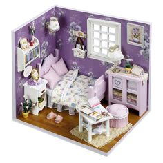 Kits-DIY-Wood-Dollhouse-miniature-with-Furniture-Doll-house-room-Angel-Dream-6