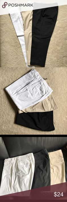 (3) Loft Capri Pants (3) Ann Taylor Loft Capri Pants 👖 3 pairs of Size 8 Curvy fit Capri pants. Black/Khaki/White. All are in great condition. Worn briefly. Only dry cleaned. Never washed/dried. All 3 for $24. Will sell individually for $10 per pair (no lower offer accepted). Just list in comments and I will list a specific color separately. ❗No Trades❗ LOFT Pants Capris