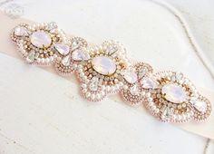 Rose Gold Crystal Bridal Sash Rhinestone Bridal by DesignedByTanne