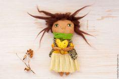 """Купить Текстильная кукла """"Лимонное сердце"""" - лимонный, лимонный цвет, феечка, кофейная кукла"""