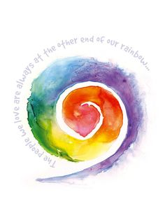 - a friend sent me this when I was grieving. It is pinned above my desk and I see it every day Rainbow Art, Rainbow Colors, Happy Monday Quotes, Spiral Tattoos, Inspiration Artistique, Rainbow Connection, Happy Paintings, Soul Art, Over The Rainbow