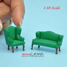 Dollhouse Bespaq Ornate Carved Gilded Sofa with Blue Velvet Upholstery Miniature
