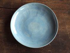Steinzeug Teller blau petrol. Keramik Teller hell blau handgemacht. Steinzeugteller, Dessert Teller, Salat Teller blau. Steinzeug Geschirr.
