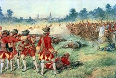 British 25th Regiment of Foot making a fusillade against the attack of the French cavalry at the Battle of Minden on 1st August 1759.