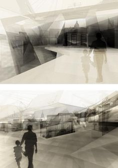 perspective renderings and photoshop Architecture Collage, Architecture Graphics, Architecture Drawings, Architecture Portfolio, Landscape Architecture, Architecture Design, Architecture Diagrams, Architecture Visualization, Futuristic Architecture