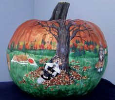 1st Thanksgiving Sheltie Pumpkin by Artist Lynnelily