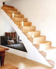 ::Surroundings::: Tiny Houses mean creative living. Reading nook under stairs Under Stairs Nook, Under Staircase Ideas, Style At Home, Space Saving Beds, Sweet Home, Stair Storage, Staircase Storage, Staircase Design, Space Saving Staircase