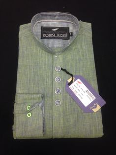 Band collar party wear shirt in cotton linen fabric.